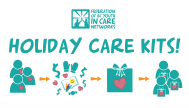 white graphic with teal text and teal Federation of BC Youth in Care Networks logo. Text reads Holiday Care Kits! illustration of holiday donation process